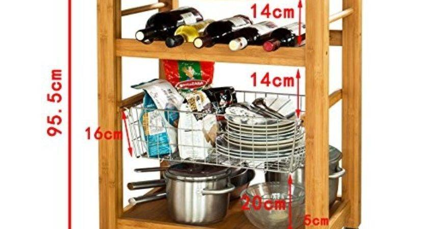 Sobuy Xxl High Quality Bamboo Wheeled Kitchen Trolley