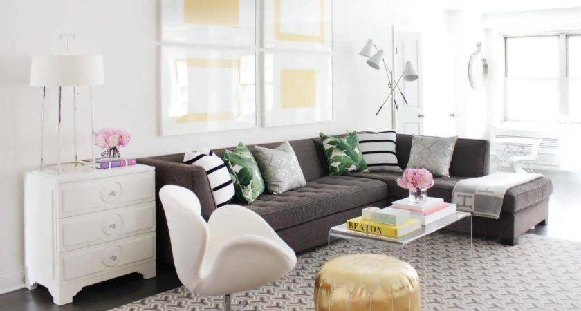 Sofa Brown Couch Black Grey Living Room Decorating