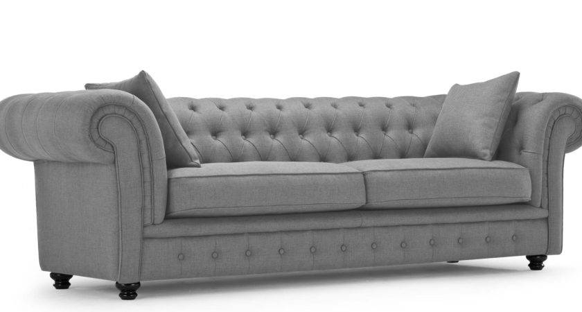 Sofa Gray Leather Chesterfield