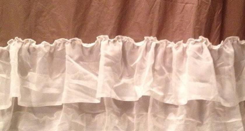 Soft Brown Ivory Simple Ruffled Shower Curtain