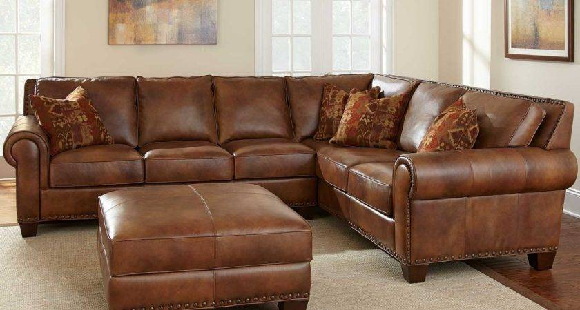 Soft Brown Leather Sofa Puffy Contemporary