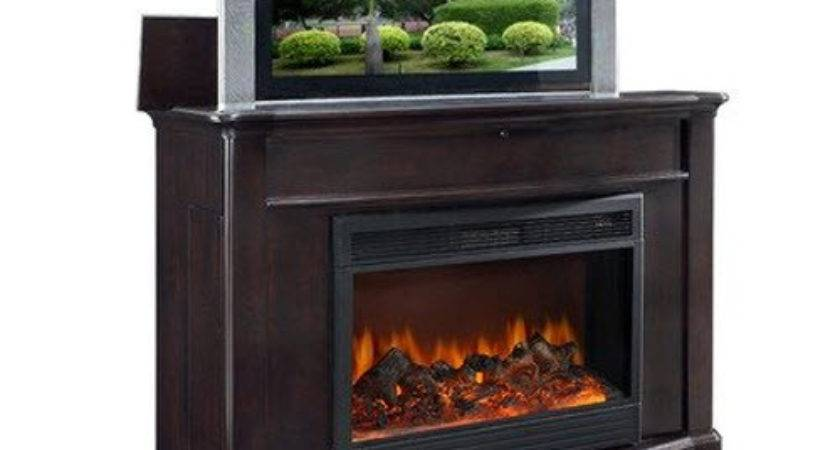 Soho Electric Fireplace Lift Cabinet Dark Wood