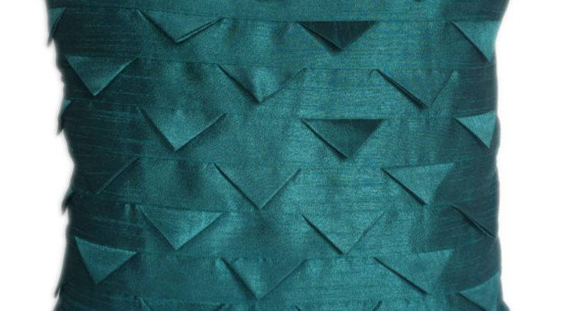 Solid Teal Pillow Cover Euro Sham Origami Folds