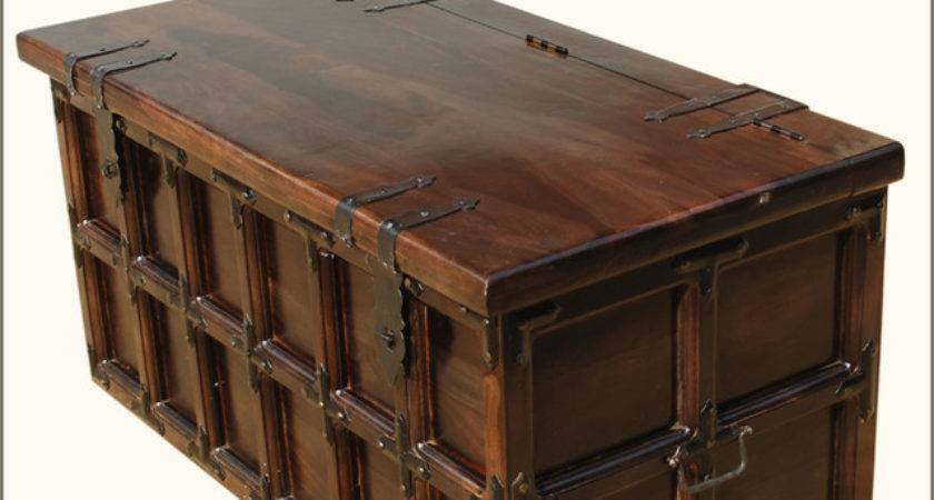 Solid Wood Iron Rustic Coffee Table Storage Trunk
