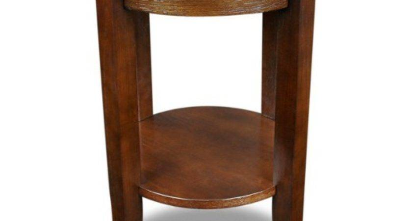 Solid Wood Round Glass Top End Table Chocolate Oak