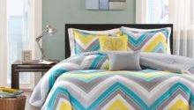 Sporty Chic Teal Blue Grey Yellow White Chevron Geometric