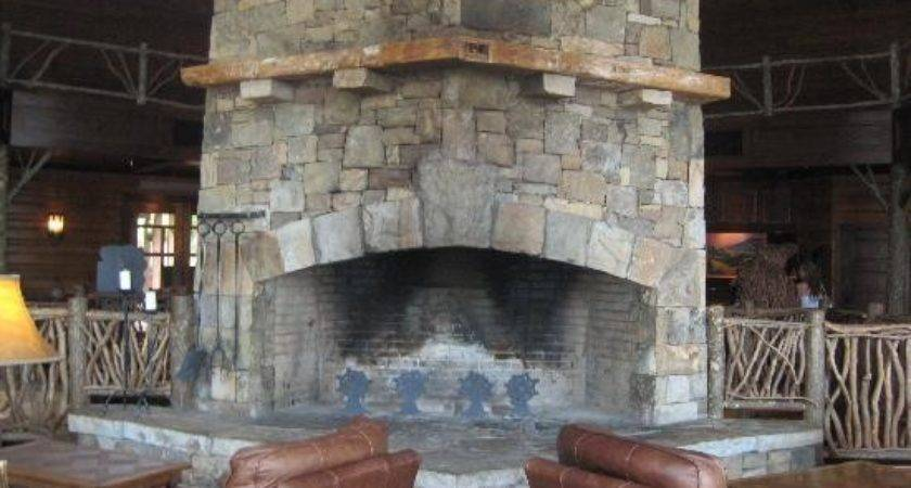 Stack Stone Fireplace Large Sitting Area Has Beautiful
