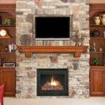 Stack Stone Fireplaces Between Shelves