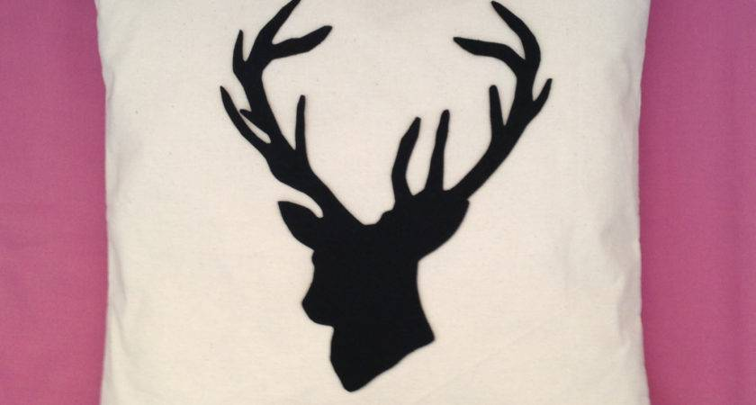 Stag Natural Cream Cotton Unique Cushion Pillow Cover Black