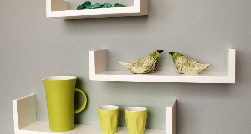 Staggered Floating Wall Shelves