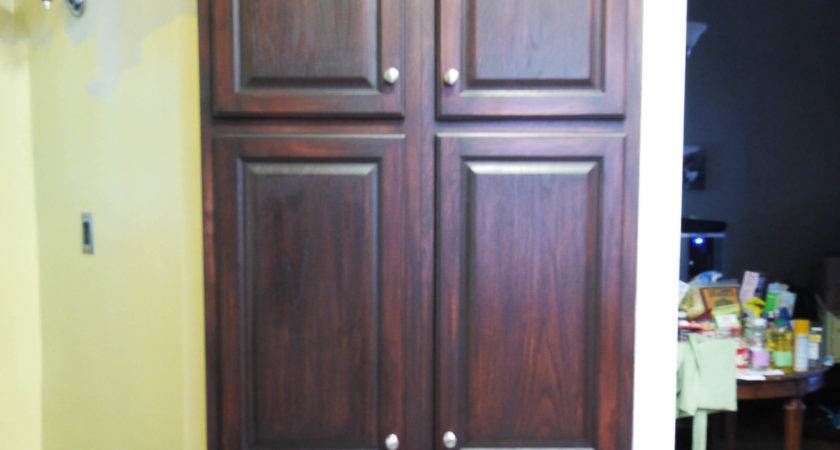 Standing Corner Pantry Cabinet Brown Laminate Wood