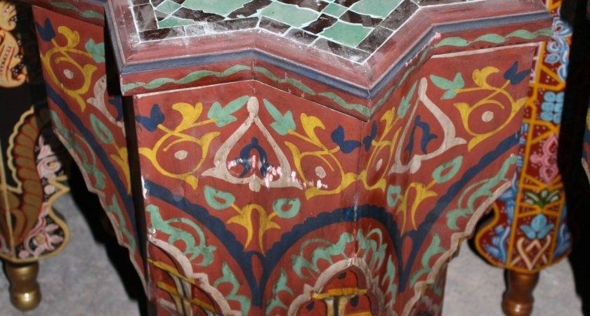 Star Shape Hand Painted Table Moroccan Furniture Los Angeles