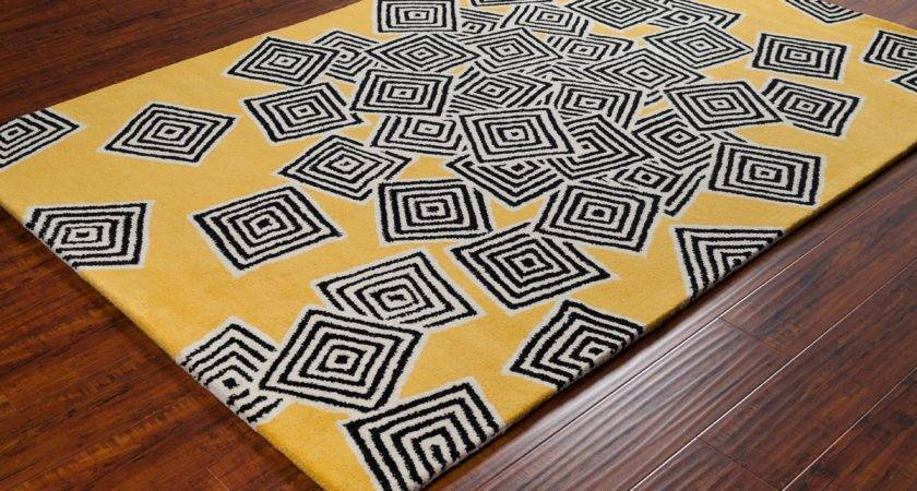 Stella Collection Hand Tufted Area Rug Yellow Cream