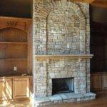 Stone Fireplace Built Shelves Sides