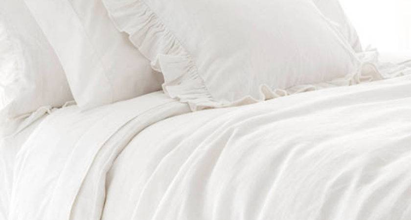 Stone Washed Linen White Duvet Cover Pine Cone Hill