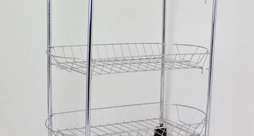 Storage Trolley Metal Multi Kitchen Chrome Tier
