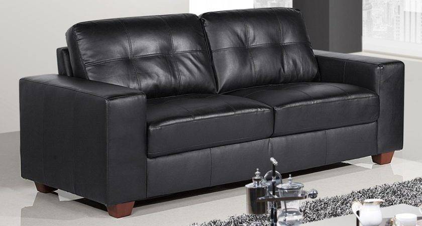 Strada Black Leather Sofa Suite Collection