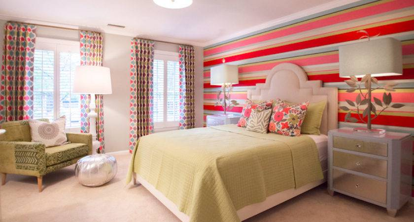 Striped Accent Wall Contemporary Girl Room Lucy