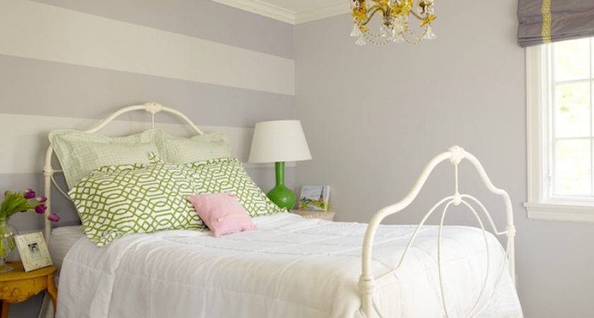 Striped Accent Wall Transitional Girl Room