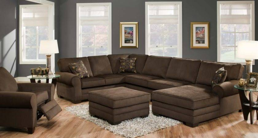 Stunning Ushaped Brown Sectional Sofa