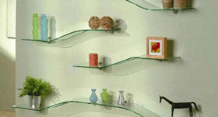 Stylish Ideas Decorate Glass Shelves Living Room