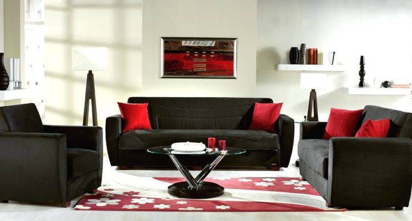 Stylish Red Black Living Room Decor White
