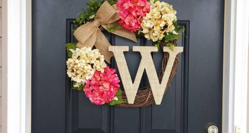 Summer Wreath Monogram Hydrangea Front Door