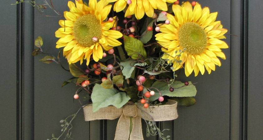 Sunflower Bouquet Front Door Decor Summer Wreath