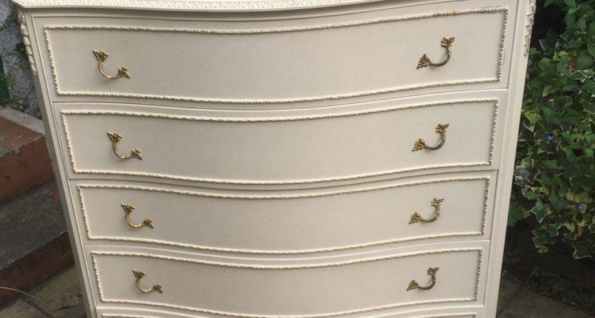 Superb French Style Shabby Chic Bowfront Chest Drawers
