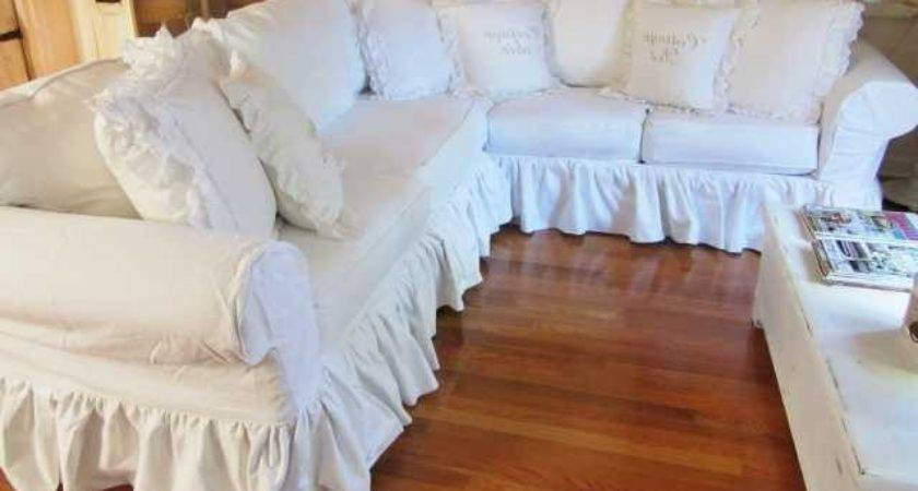 Superb Junk Chic Cottage White Sectional Sofa Sale