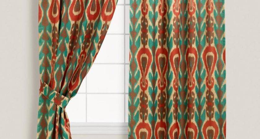 Surprising Ikat Curtains Indigo Concealed Tab Top