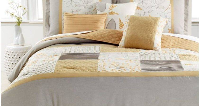 Sycamore Piece Queen Comforter Set Marigold Light Grey