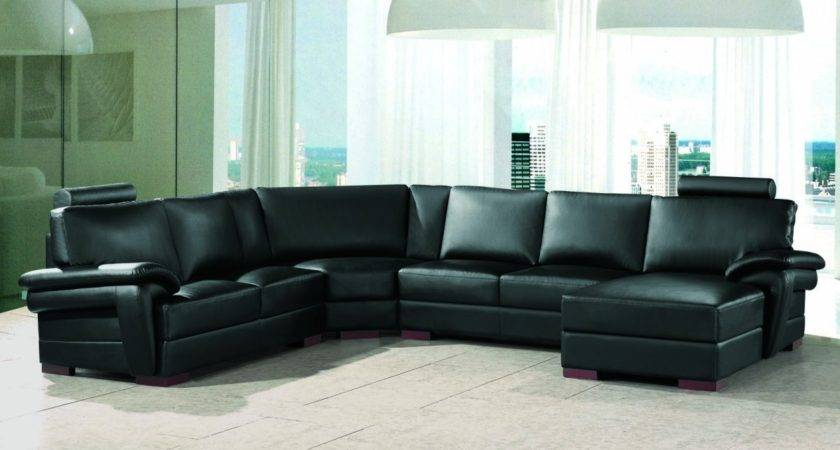 Taking Care Modern Black Leather Sectional