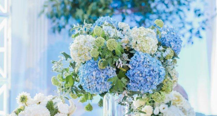 Tall Blue White Hydrangea Centerpieces