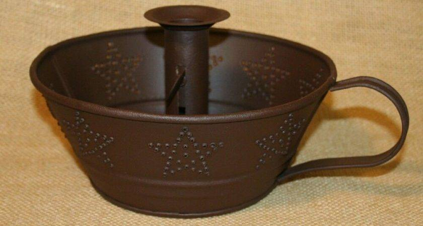 Taper Candle Holder Punched Tin Star Bowl Country