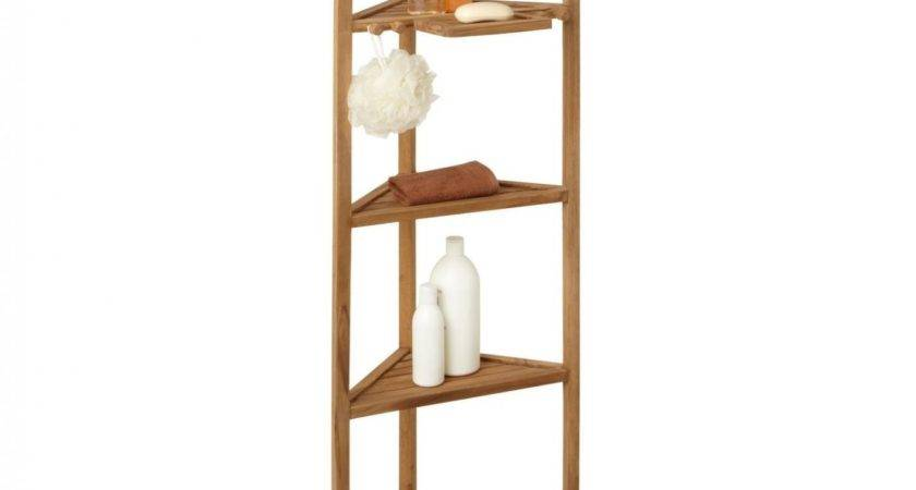 Teak Corner Bathroom Shelf Regarding