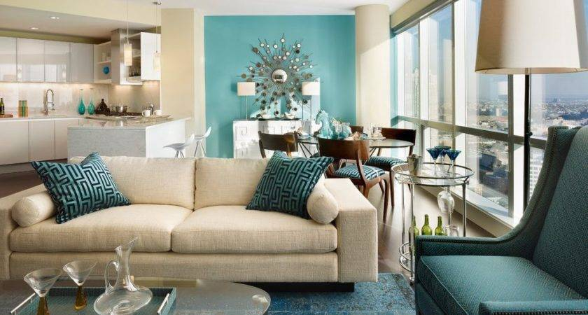 Teal Accent Living Room Contemporary