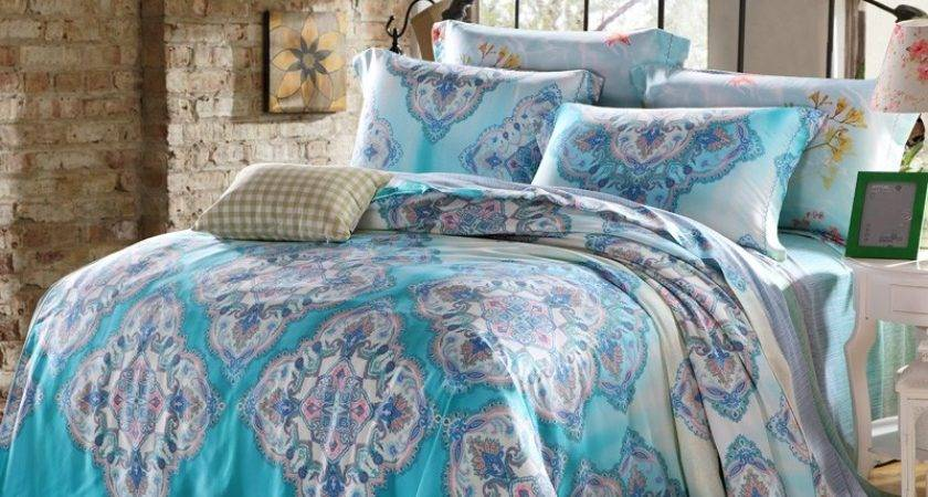 Teal Blue Grey Exotic Indian Pattern Folklore Themed