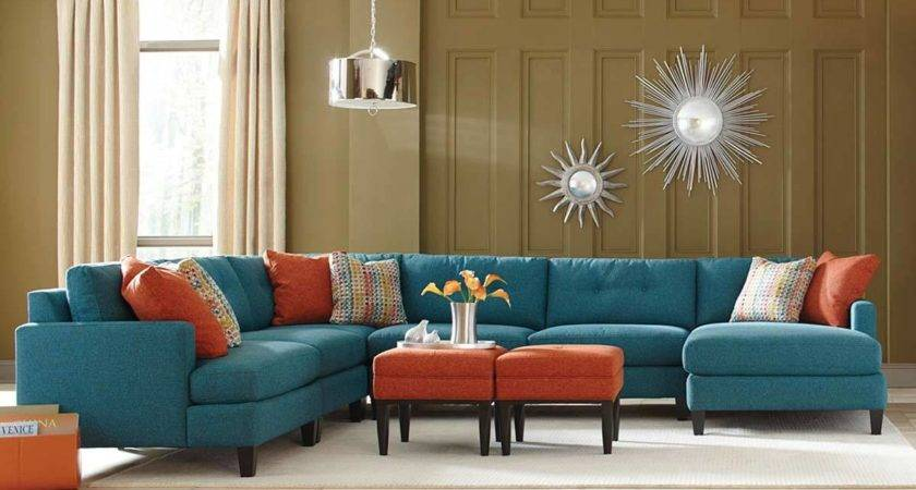 Teal Color Custom Sectional Sofa Made Usa Los Angeles