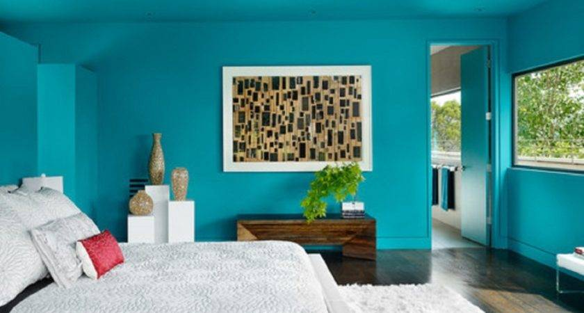 Teal Color Paint Bedroom Home Interior Designing