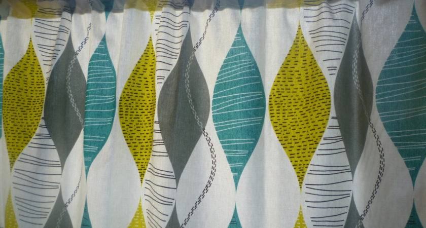 Teal Curtain Panel Valance Cafe Grey Yellow Green Rod