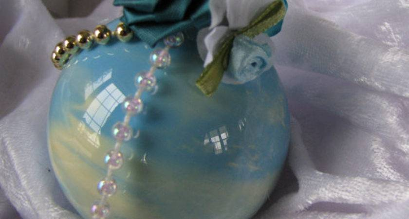 Teal Gold Christmas Ornament Set Glass