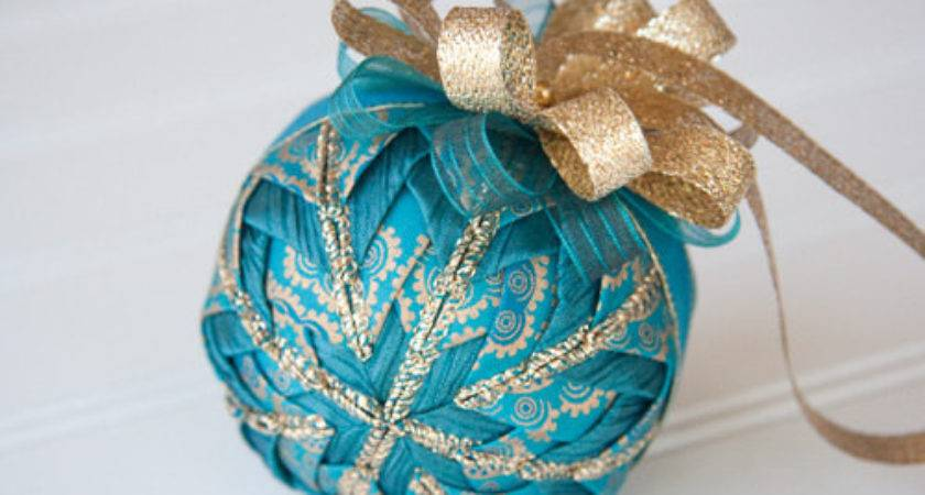 Teal Gold Quilted Christmas Ornament Ball Luster