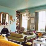 Teal Light Green Yellow Living Room
