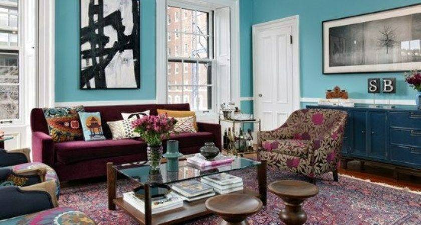 Teal Living Room Eclectic Home Style