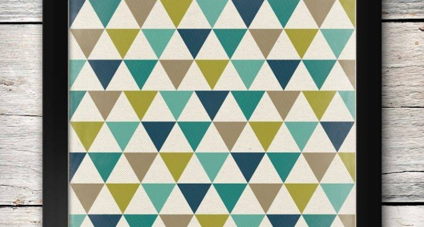 Teal Navy Chartreuse Grey Triangle Art Printable