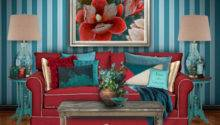 Teal Red Living Room Polyvore