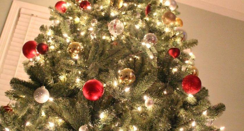 Ten June Red Silver Gold Christmas Tree