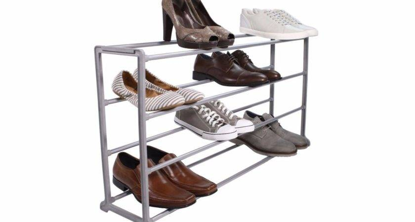 Tidy Living Pair Shoe Rack Three Tier Gray Storage