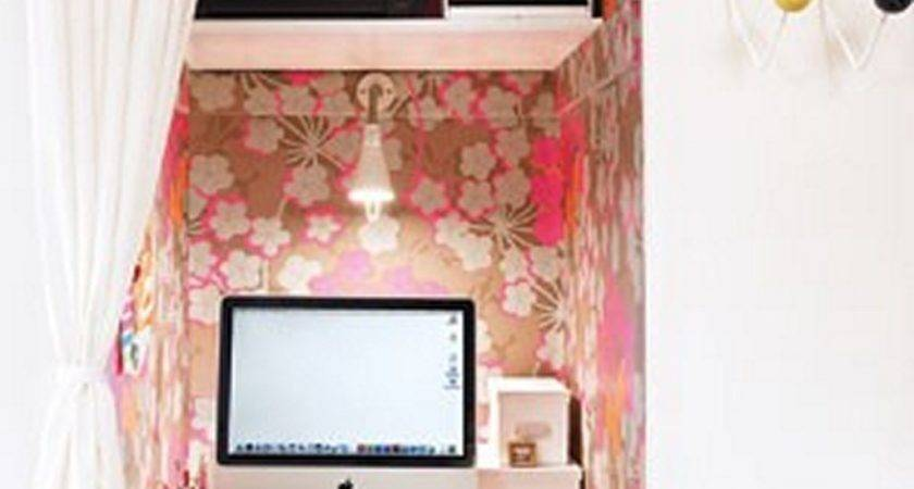 Tiny Home Office Ina Small Closet Floral
